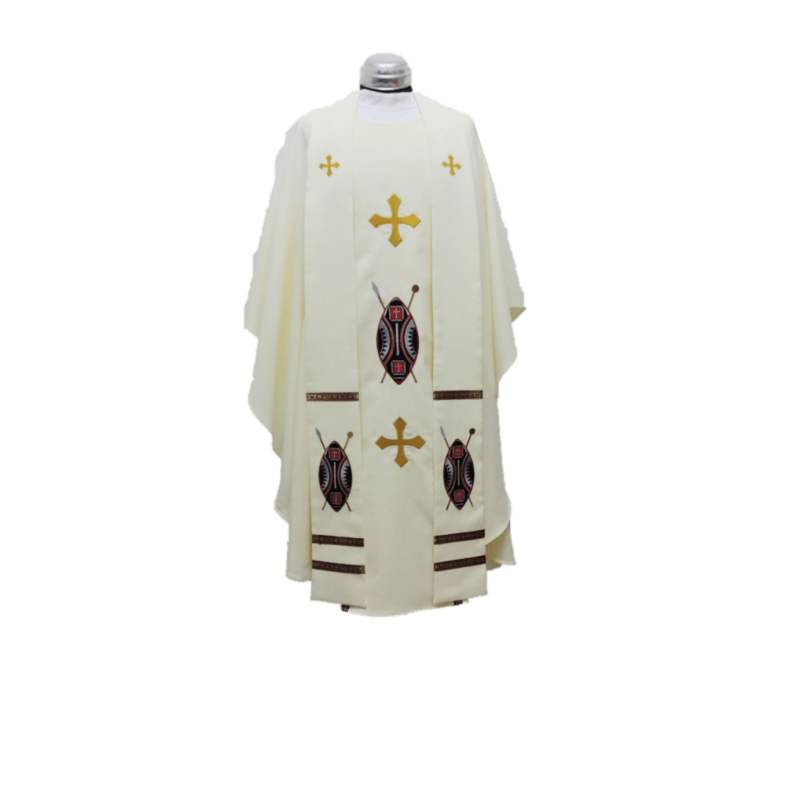 CHASUBLE AND STOLE AFRICAN SHIELD